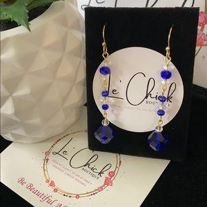 Handmade Gold Earrings- Sapphire blue